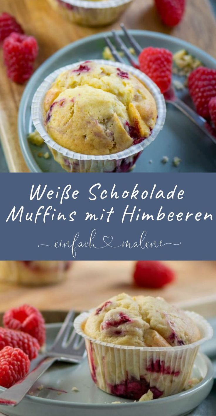 White chocolate muffins with raspberries. And best of all: the muffins with white …   – *Einfach Malene – Blog Rezepte*