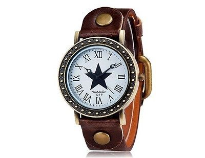 WOMAGE 523-9 Women's Star Print Round Dial Analog Watch Wrist Watch Brown Strap