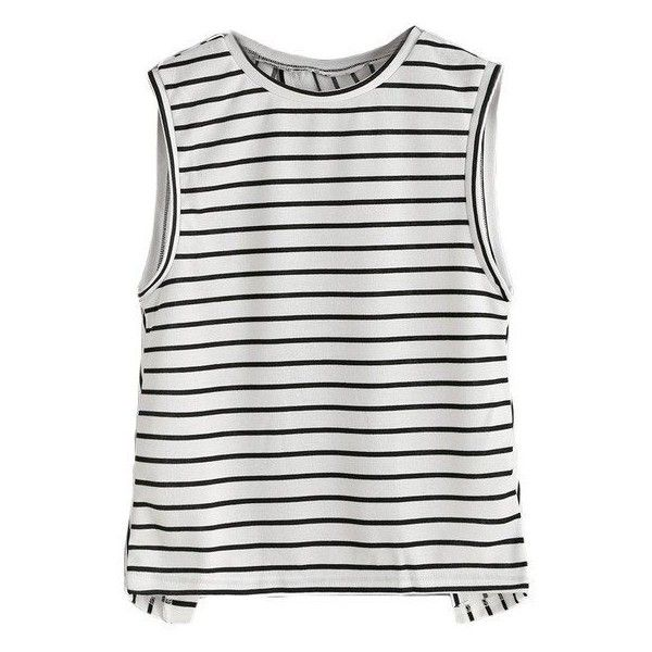 OVERLAP BACK SPLIT TANK TOP STRIPED SLEEVELESS SUMMER 2017 (198.110 IDR) ❤ liked on Polyvore featuring tops, striped top, striped tank, stripe tank, stripe top and summer tops