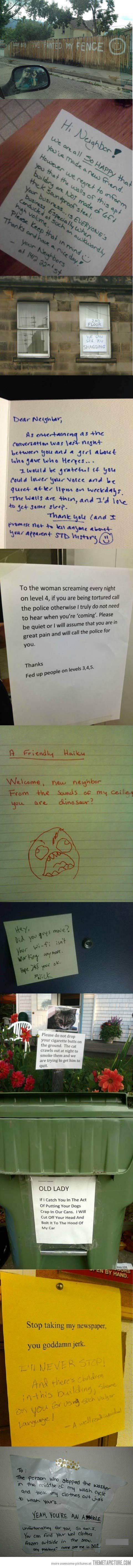 Neighbourly Love! I wish was this whitty when I was in my old apartment..