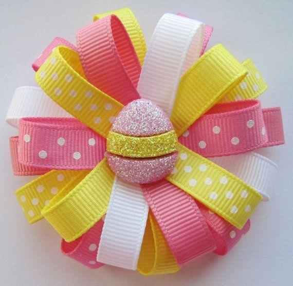 Easter Hair Bows Ideas   ... & Yellow Easter Egg Loopy Hair Bow - Pink, ...   Hair Bow Ideas