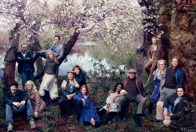 Veterans of the Public Theater's Shakespeare in the Park: Mandy Patinkin, Jesse L. Martin, Blythe Danner, Lily Rabe, Jonathan Groff, Jerry Stiller, Anne Meara, Donna Murphy, Audra McDonald, James Earl Jones, Jesse Tyler Ferguson, Meryl Streep, Kevin Kline, and Oliver Platt, photographed at the Delacorte Theater, in Central Park.
