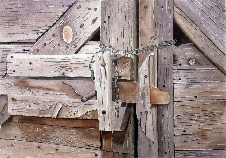 Les 35 meilleures images propos de aquarelles de jean for Restaurer une vieille porte en bois