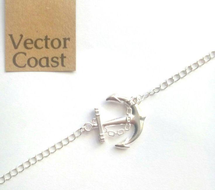 Nautical Anchor Bracelet, Silver Bracelet, Sailor Jewelry, Body Jewellery, Anchor Jewellery by VectorCoastUK on Etsy