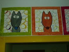 peinture du loup en gris ou marron, fond du cadre : empreintes à l'aide de rouleaux de papier wc, peinture du cadre, une fois sec, assemblage du tout, et collage des yeux.