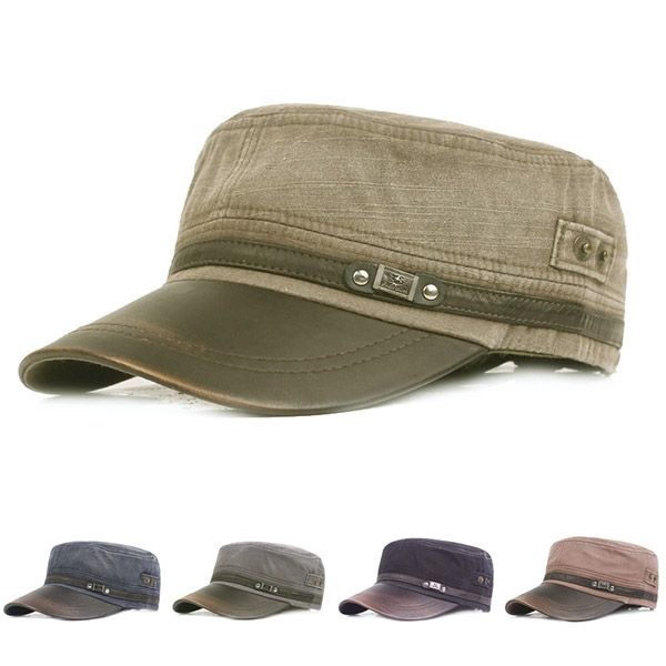 High-quality Men Vintage PU Leather Brim Flat Cap Breathable Washed Cotton Sun Hat Outdoor Sports Cap - NewChic Mobile.