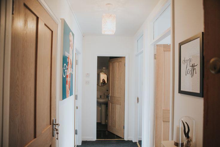 Hall Doors replaced with Howdens 4 Panel Oak door.  Marilyn print: homebase Skull in bell jar: asda Choose Leith Print - The Design Exchange