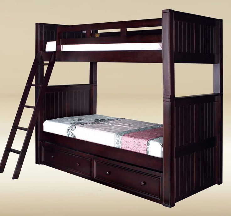 The High Quality Dillon Extra Long Twin Over Bunk Bed Available In Espresso Black Navy Blue White Walnut And Dark Pecan