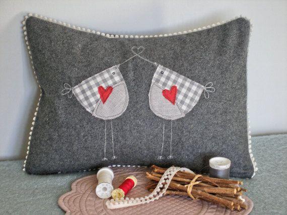 lovebirds cushion bird cushion grey cushion decorative