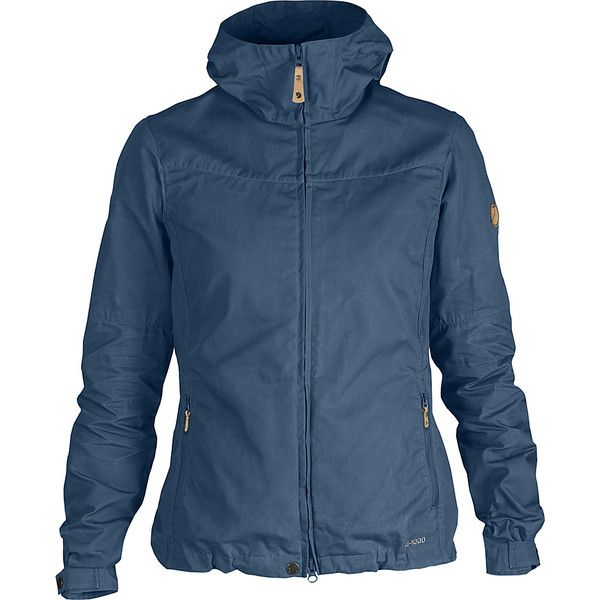 Fjallraven Womens Stina Jacket ($200) ❤ liked on Polyvore featuring outerwear, jackets, apparel, blue, men's apparel, zip jacket, fjallraven jacket, blue jackets, pocket jacket and hooded zip jacket