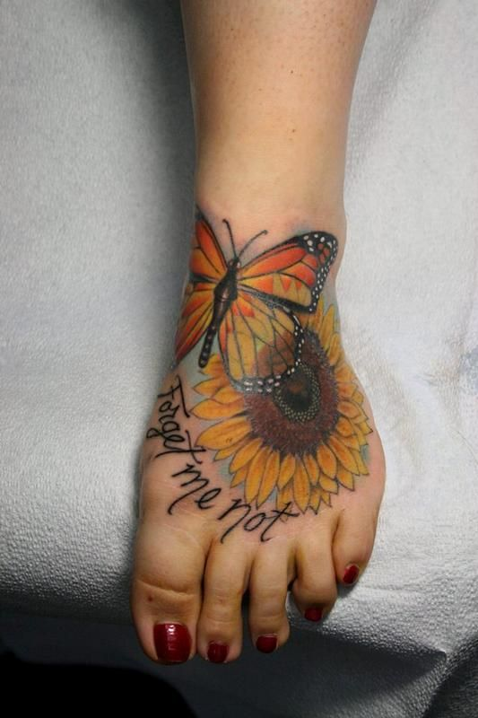 SUNFLOWER memorial  Tattoos | Jeff Norton - Butterfly, sunflower and forget me not