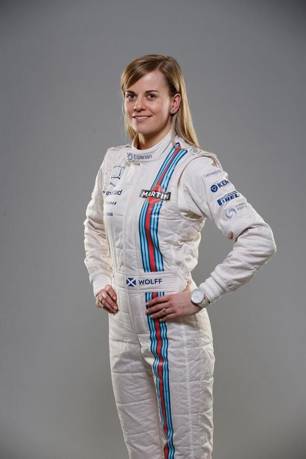 Here is @Susie_Wolff in her new Martini overalls... #F1