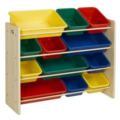 HDX 34 in. x 35.625 in. Natural 12 Toy Bin Organizer-EH-KBHD-001 - The Home Depot