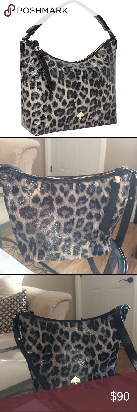 EUC Kate Spade Leroy St. Vivienne Animal Print Bag Very gently used Kate Spade bag.  Can be worn as a crossbody or as a Tote, the strap is adjustable.  Black bow detail on the base of the bag.  Interior in excellent condition, exterior condition has a few small marks on the corners (as shown in a picture) and small scratches on the logo, but it is very minor.  Color is most accurate in the first picture. kate spade Bags Crossbody Bags
