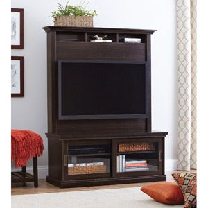 """Better Homes and Gardens Chocolate Oak TV Stand with Hutch for TVs up to 50""""   230.00 Walmart No.:551296773"""