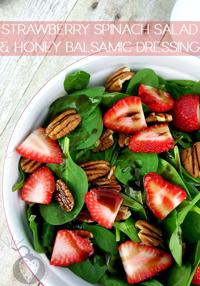 Strawberry Spinach Salad and Honey Balsamic Dressing via @jamieharrington