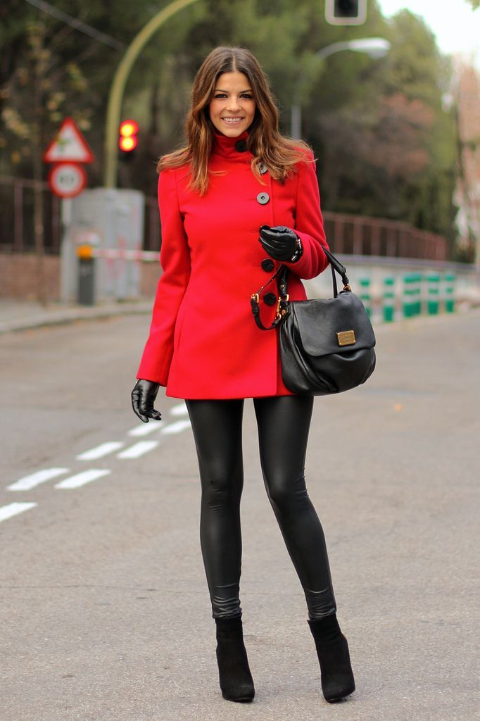 Elegant red coat with leggings and booties.