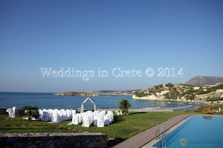 Weddings in Crete - Wedding Arch and Chairs with White Covers Chania area