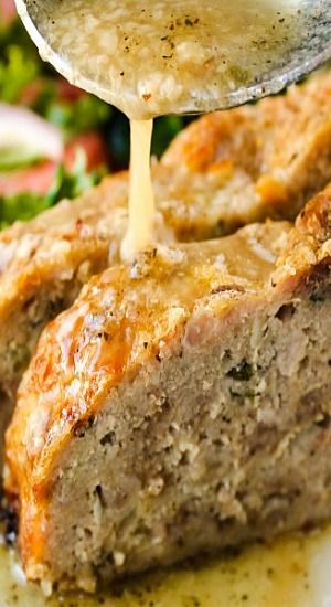 1770 HOUSE MEATLOAF WITH GARLIC SAUCE ==INGREDIENTS==meatloaf= 2T olive oil, 2 c onion, 1 1/2 c celery, 1 lb ground beef, 1 lb ground veal, 1 lb ground pork, 1T fresh parsley,  1T fresh thyme,  1T chives or green onions,  3 large eggs, 2/3 c whole milk, 2T kosher salt, 1T freshly ground black pepper, 2 1/2 c panko bread crumbs =GARLIC SAUCE= 3/4 c olive oil 10 garlic cloves, 2 c chicken stock, 3T butter, 1/2t kosher salt, 1/4t freshly ground black pepper     ==============