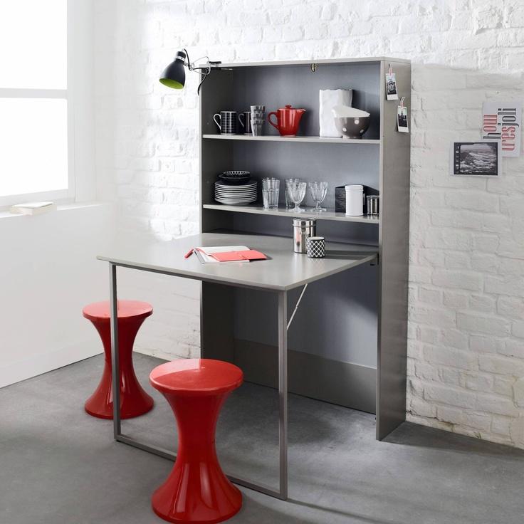 Meuble de rangement avec table escamotable 3 suisses petits espaces table escamotable - Table rabattable de cuisine ...