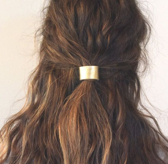 These leather hair cuffs are soft, flexible, high quality and as easy to put in your hair (and keep there) as my headbands. Ha! Fold over elastic tie