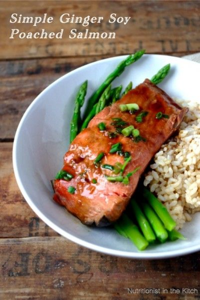 Simple Ginger Soy Poached Salmon: 1 cup water, ¼ cup low sodium soy sauce, 2 Tablespoons coconut palm sugar, 2 Tablespoons grated ginger, ½ teaspoon of your favorite hot sauce or chili pepper flakes, 4x4oz fresh salmon fillets, green onions, thinly sliced for garnish.