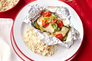 """""""Take 5"""" Grilled Fish Packets with Rice"""