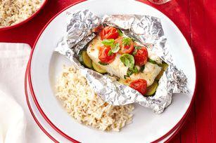 Paquetitos de pescado y vegetales