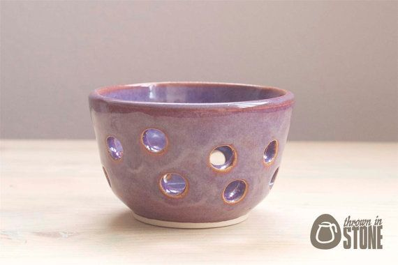 Tea Light Holder - Purple Candle Holder - Stoneware Home Decoration by ThrownInStone