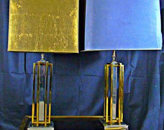 Willy Rizzo  desk lamp set of 2 brass  chrome midcentury modern hollywood regency brutalist 1970s lighting table lamps -    Edit Listing  - Etsy