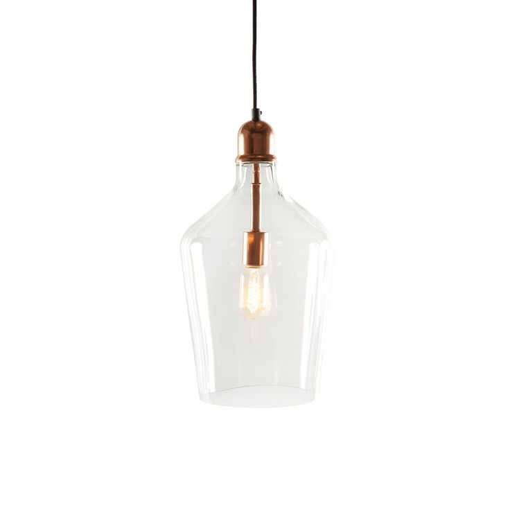 Buy Glass pendant, clear glass with steel in plated copper 10*10*15 (LA1306A EA 00) online easily, and securely with Bois & Cuir. Choose from a wide selection of Pendants.