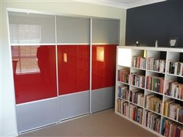 High Gloss Sliding Wardrobe Doors with Silver and Cherry. The Trio Centre. Click Image to enlarge