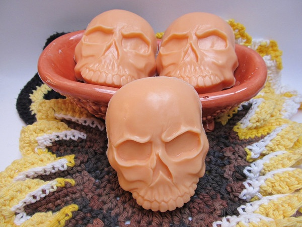 Just in time for Halloween! Candy Corn scented soap in a Skull design — HaldeCraft #soap #skull #candycorn #halloween