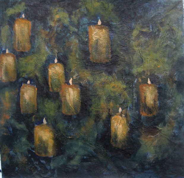 """Cave Lights"" by Cholena Drew Hughes, Acrylic on canvas, 28 x 29cm"