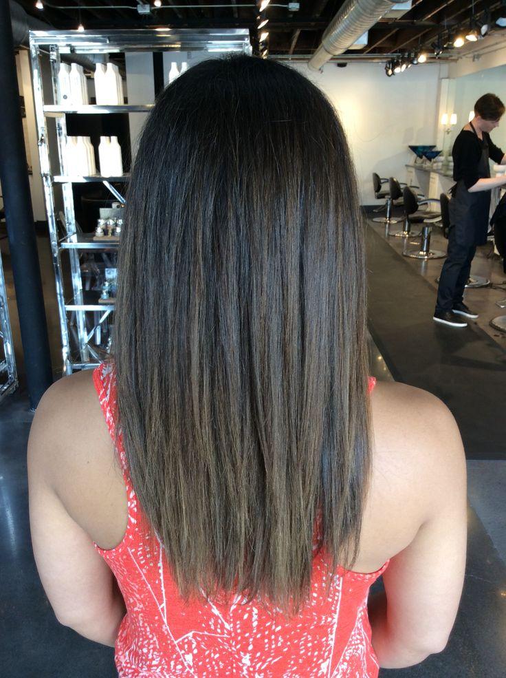 Caramel balayage on deep brown hair