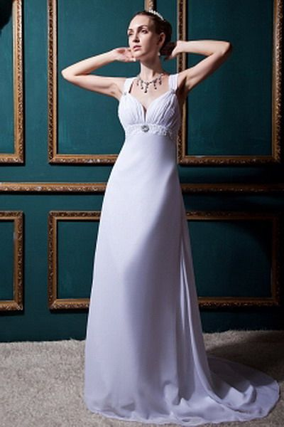 Elegant A-Line V-Neck Bridal Dresses - Order Link: http://www.thebridalgowns.com/organza-champagne-waistband-ball-gown-wedding-gown-p-7591 - SILHOUETTE: A-Line; SLEEVE: Sleeveless; LENGTH: Sweep/Brush Train; FABRIC: Chiffon; EMBELLISHMENTS: Sash , Ruched - Price: 188USD