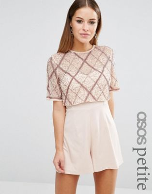 ASOS PETITE Double Layer Embellished Playsuit