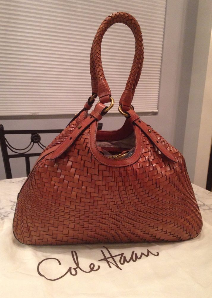 Cole Haan Genevieve Woven Leather Saddle Brown Hobo Tote Shoulder Hand Bag Purse Stuff To Pinterest