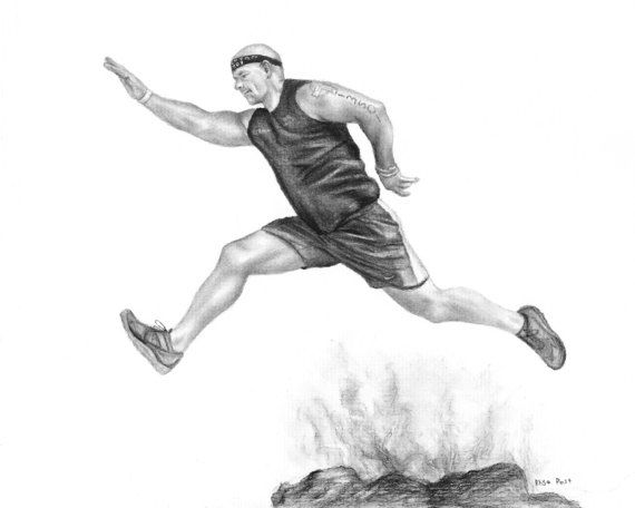 Custom sports drawing of runner by Elisa Post in charcoal.  To get your own custom athlete drawing, please visit here: www.etsy.com/listing/489099904/custom-sports-drawing-sports-memorabilia
