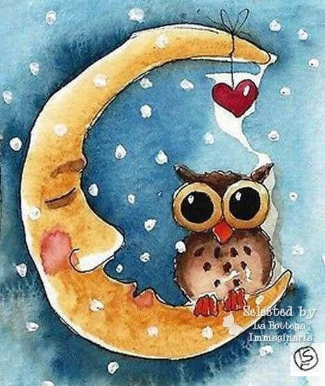 Buona notte....gufo -  luna