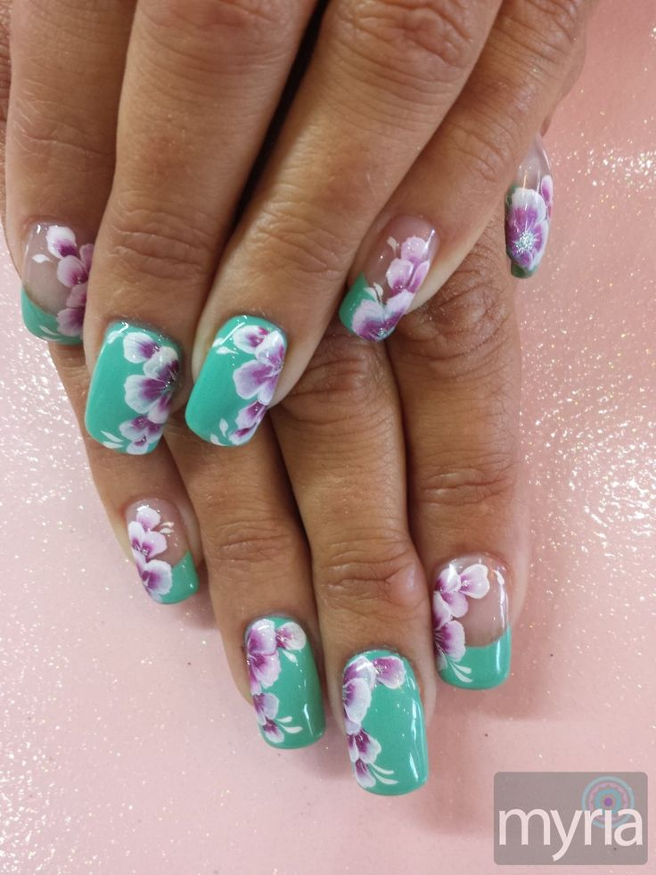 Mint green gel polish with one stroke flower nail art