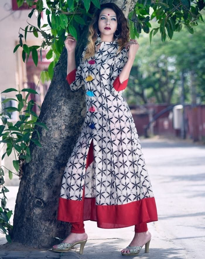 White Printed Long Kurti with Front Slit