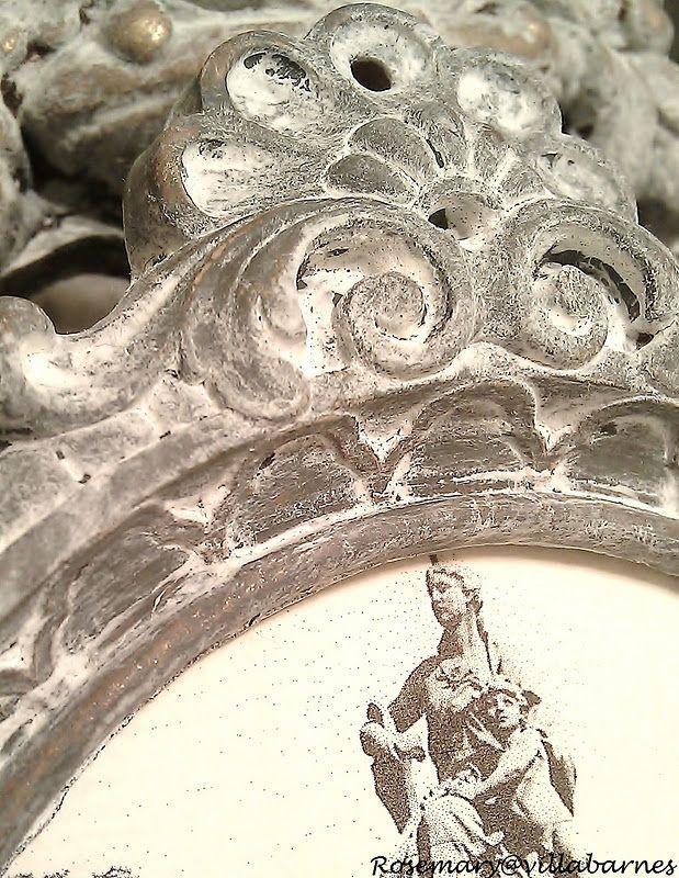 Old World Love Frame Makeover TUTORIAL Dark Grey n White Paints!  ~villabarnes.com