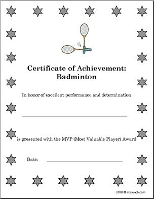 7 best sport certificates images on pinterest certificate award sports certificates badminton set of 5 awards for badminton yelopaper Choice Image