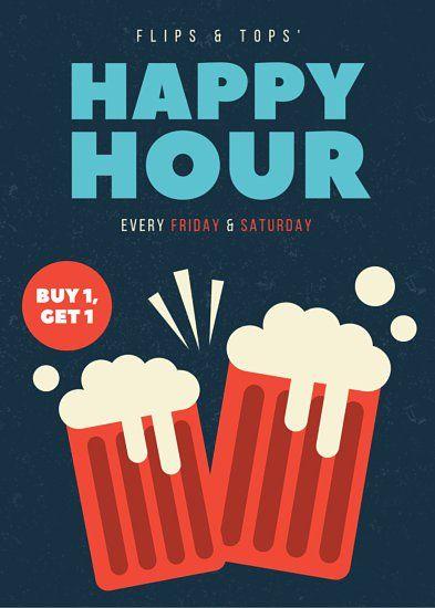Dark Grunge Happy Hour Flyer