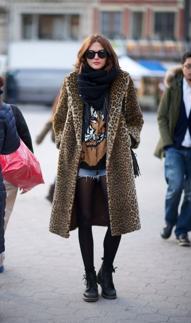 Downtown cool in a leopard print coat. #StreetStyle