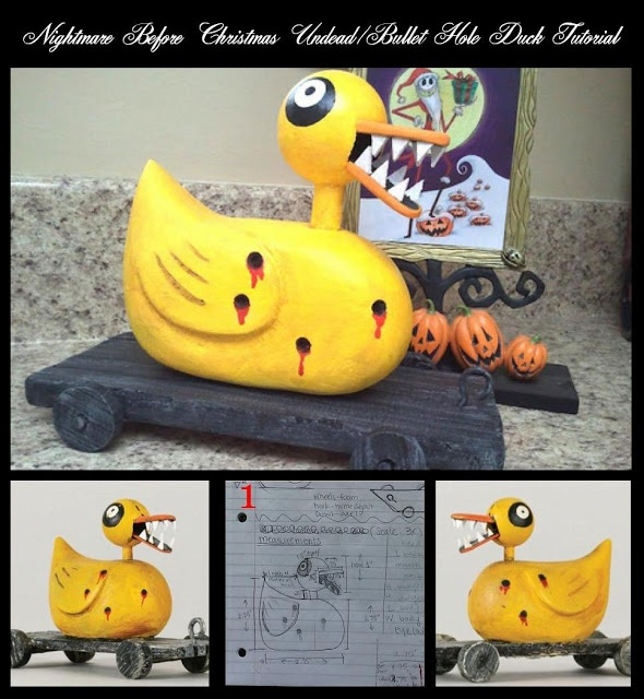 DIY Nightmare Before Christmas Halloween Props: Nightmare Before Christmas Undead / Bullet Hole Duck Scary Toy Tutorial