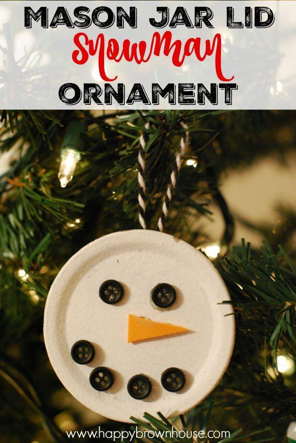 Easy Mason Jar Lid Snowman Christmas Ornament For Kids To Make