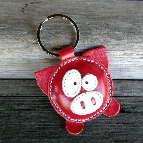 Leather Keychain Pig Red FREE Shipping Wordlwide by snis on Etsy, $14.00