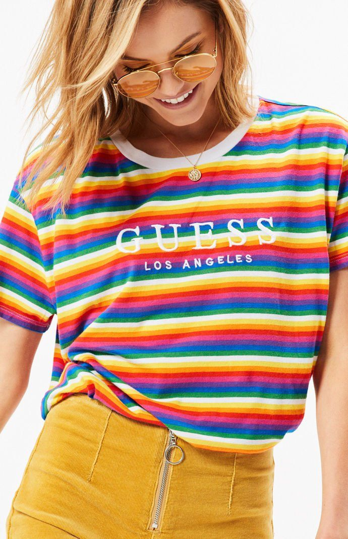 Guess Oversized Stripe Women`s T-shirt